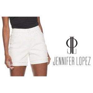 Jennifer Lopez White High Waist Jean Shorts Sz 18
